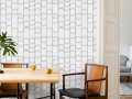 Stylish and eclectic dining room interior with mock up poster ma