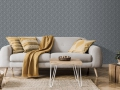 The stylish boho compostion at living room interior with design